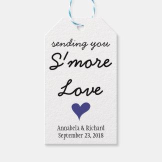 Etiquetas azules del regalo de boda del corazón