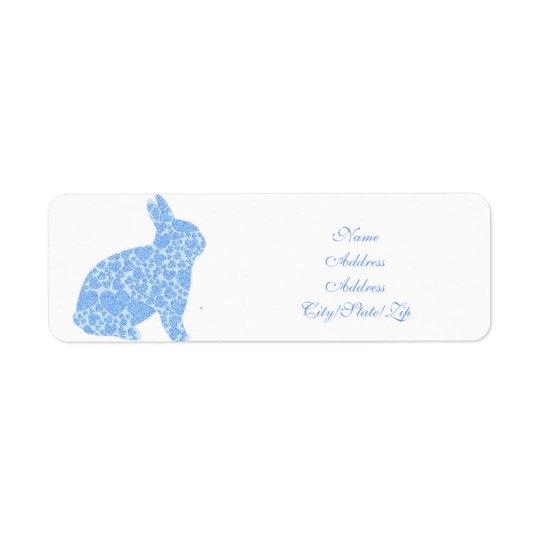 Etiquetas azules del remite del conejito etiqueta de remite