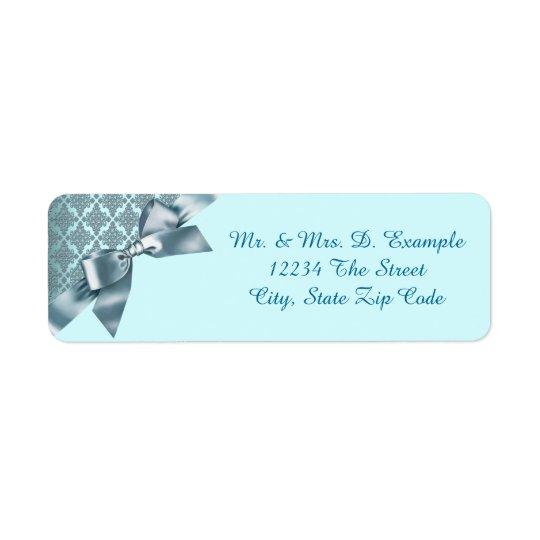 Etiquetas azules del remite del damasco del trullo etiqueta de remitente