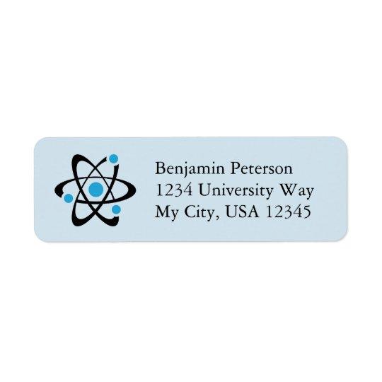Etiquetas azules del remite del diseño del átomo etiqueta de remitente