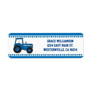 Etiquetas azules del remite del tractor