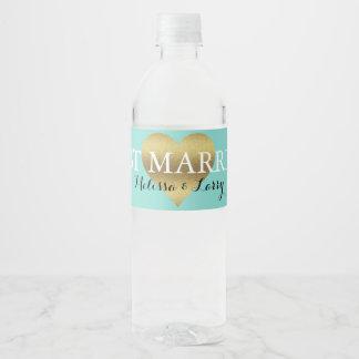 Etiquetas azules verde azuladas de la botella de