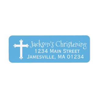 Etiquetas azules y blancas del remite del bautizo