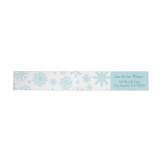 Etiquetas blancas azules del navidad del copo de etiquetas envolventes de remitente