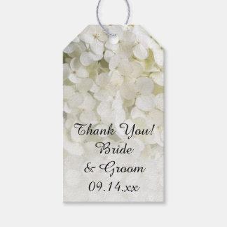 Etiquetas blancas del favor del boda del Hydrangea