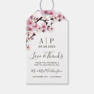 Etiquetas blancas rosadas del favor del boda de la