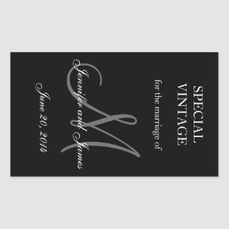 Etiquetas blancos y negros del boda del rectángulo