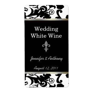 Etiquetas blancos y negros del vino de Fleur Di Ly Etiqueta De Envío