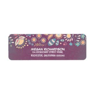 Etiquetas caprichosas florales púrpuras del remite etiquetas de remite