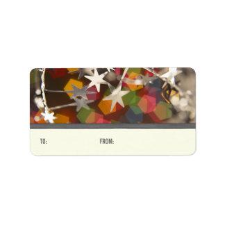 Etiquetas chispeantes del regalo de las etiquetas de dirección