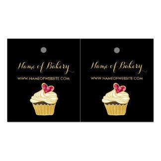 Etiquetas colgantes rosadas del corazón de tarjetas de visita