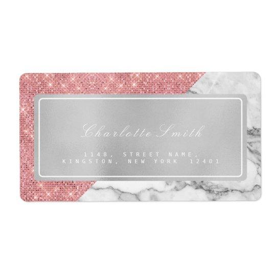 Etiquetas color de rosa rosadas grises de mármol etiquetas de envío