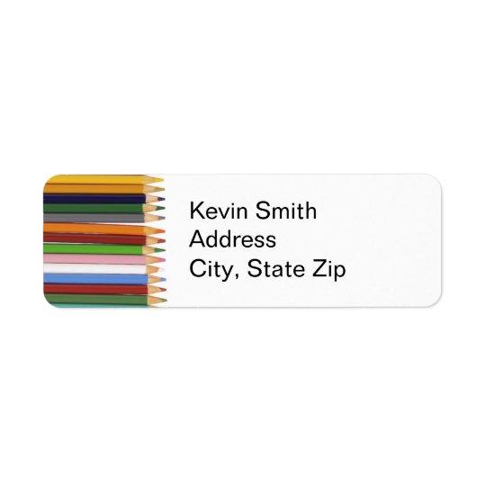Etiquetas coloreadas del remite de los lápices etiqueta de remitente