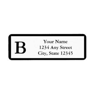 Etiquetas cones monograma negras de encargo del etiqueta de remitente