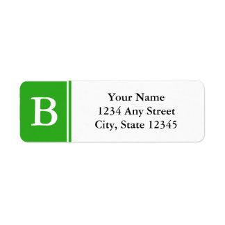 Etiquetas cones monograma verdes y blancas del etiqueta de remitente