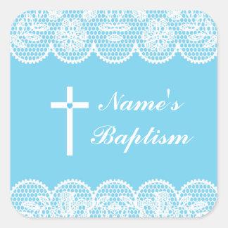 Etiquetas cruzadas del cordón del bautismo de los pegatina cuadrada