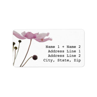 Etiquetas de correo rosadas de la anémona etiquetas de dirección