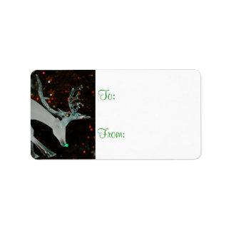 Etiquetas de cristal del regalo del reno etiqueta de dirección