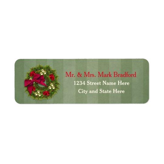 Etiquetas de devolución del navidad - guirnalda etiqueta de remite