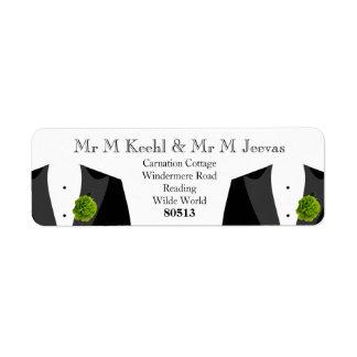 Etiquetas de devolución verdes del clavel para los etiquetas de remite