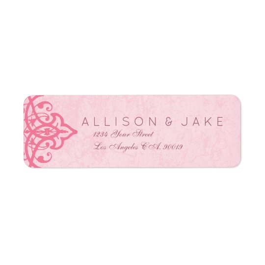 Etiquetas de dirección adornadas rosadas del boda