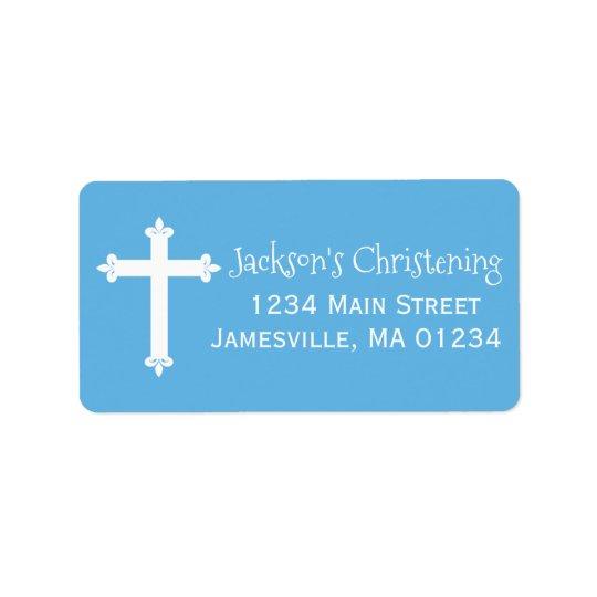 Etiquetas de dirección azules, blancas del bautizo
