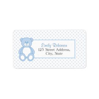 Etiquetas de dirección azules del oso de peluche