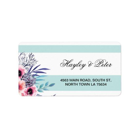 Etiquetas de dirección azules florales de la raya