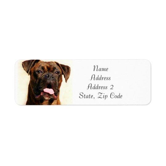 Etiquetas de dirección Brindle del perro del