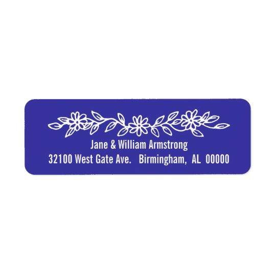 Etiquetas de dirección de encargo azules y blancas