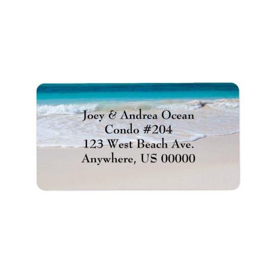 Etiquetas de dirección de encargo de la playa y