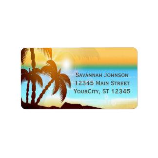 Etiquetas de dirección de encargo de las palmeras