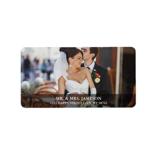Etiquetas de dirección de la foto de la novia y