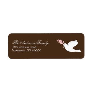 Etiquetas de dirección de la paloma del rosa