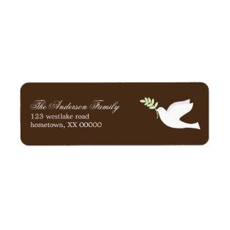 Etiquetas de dirección de la paloma del verde