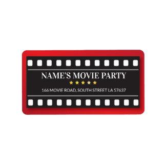 Etiquetas de dirección de la película del boleto
