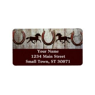Etiquetas de dirección de madera del vaquero del