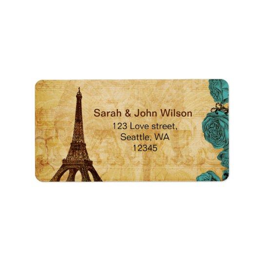 etiquetas de dirección de París de la torre Eiffel