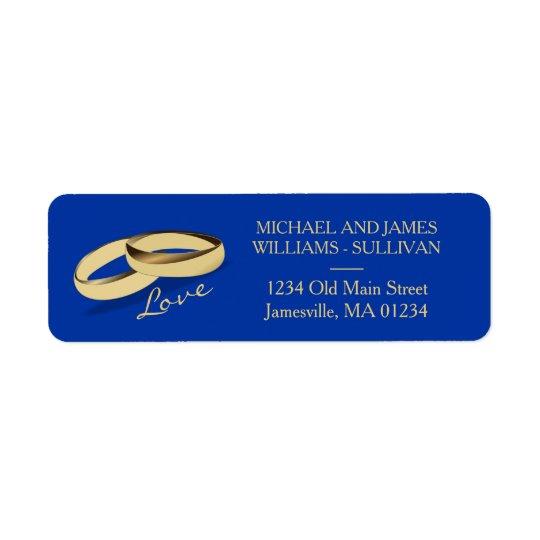 Etiquetas de dirección del boda de los azules