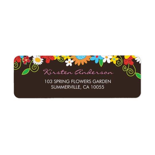 Etiquetas de dirección del boda del jardín de