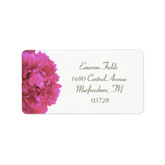 Etiquetas de dirección del boda del Peony