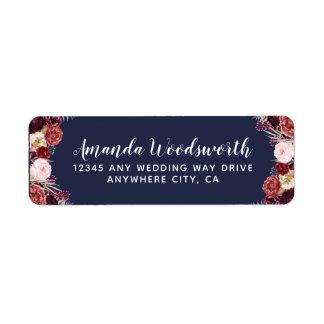 Etiquetas de dirección del boda del Peony de la
