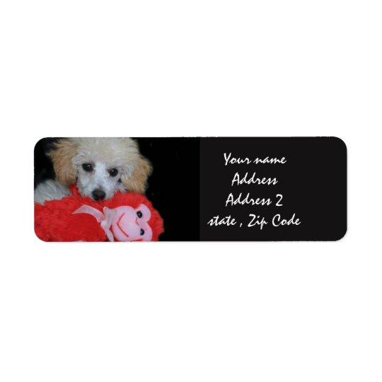 Etiquetas de dirección del perrito del caniche de