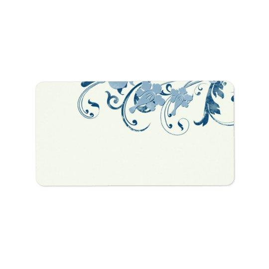 Etiquetas de dirección en blanco florales azules m