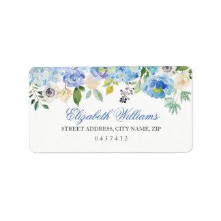 Etiquetas de dirección florales azules de la