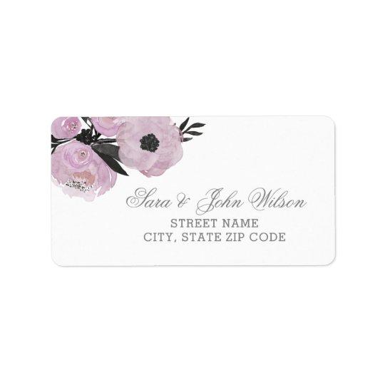 Etiquetas de dirección florales de la acuarela