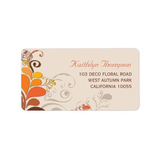 Etiquetas de dirección florales de los remolinos