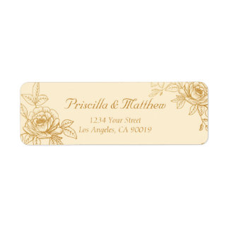 Etiquetas de dirección florales del oro elegante