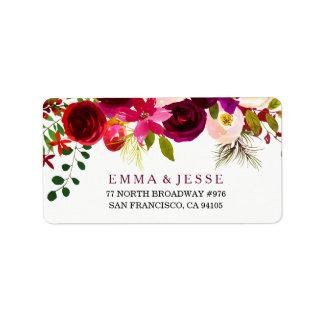 Etiquetas de dirección florales rojas del boda de
