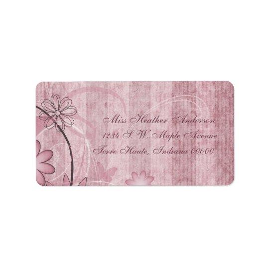 Etiquetas de dirección florales rosadas de encargo